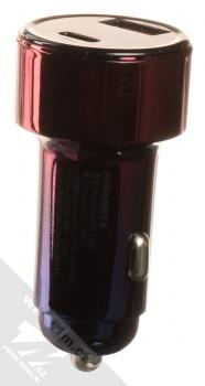 Baseus Magic Car Charger CCMLC20C-03 nabíječka do auta s 1x USB + 1x USB Type-C výstupy 45W a podporou PD a QC růžová modrá (pink blue) zezadu