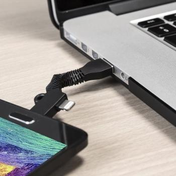 Blue Star Key Chain malý USB kabel s Lightning a microUSB konektorem ve formě přívěšku na klíče černá (black) použití 3