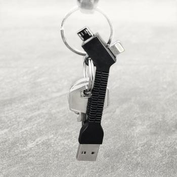Blue Star Key Chain malý USB kabel s Lightning a microUSB konektorem ve formě přívěšku na klíče černá (black) klíčenka