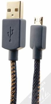 CellularLine USB Cable Denim textilní USB kabel s microUSB konektorem modrá (jeans)