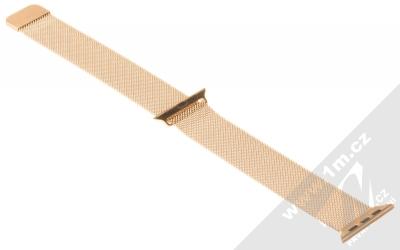 Devia Elegant Milanese Loop magnetický pásek z leštěného kovu na zápěstí pro Apple Watch 38mm, Watch 40mm červeně zlatá (blush gold) rozepnuté zezadu