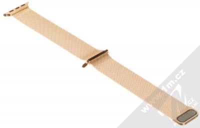 Devia Elegant Milanese Loop magnetický pásek z leštěného kovu na zápěstí pro Apple Watch 38mm, Watch 40mm červeně zlatá (blush gold) rozepnuté