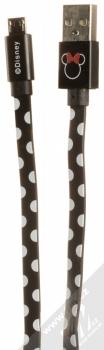 Disney Minnie Mouse Puntíky USB kabel s motivem a microUSB konektorem černá (black)