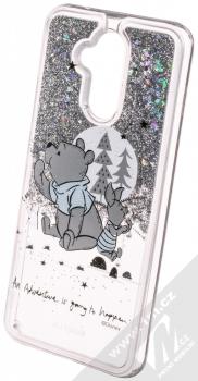Disney Sand Medvídek Pú a Prasátko 008 ochranný kryt s přesýpacím efektem třpytek s motivem pro Huawei Mate 20 Lite průhledná stříbrná (transparent silver) animace 1