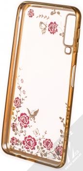 Forcell Diamond Flower TPU ochranný kryt pro Samsung Galaxy A7 (2018) zlatá (gold) zepředu