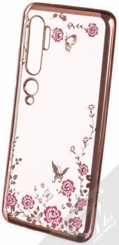 Forcell Diamond Flower TPU ochranný kryt pro Xiaomi Mi Note 10, Mi Note 10 Pro růžově zlatá (rose gold)
