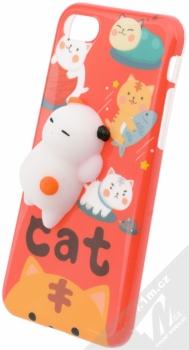 Forcell Squishy ochranný kryt s antistresovou postavičkou pro Apple iPhone 7, iPhone 8 bílá kočička červená (white cat red)