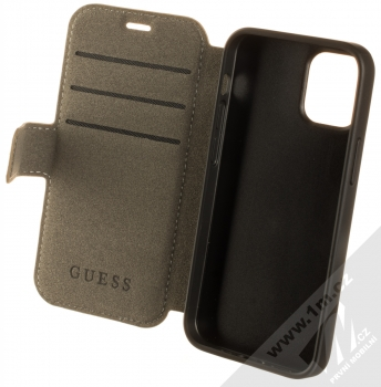Guess 4G Book flipové pouzdro pro Apple iPhone 12 mini (GUFLBKSP12S4GB) hnědá (brown) otevřené