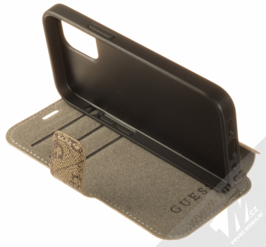 Guess 4G Book flipové pouzdro pro Apple iPhone 12 mini (GUFLBKSP12S4GB) hnědá (brown) stojánek