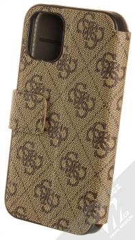 Guess 4G Book flipové pouzdro pro Apple iPhone 12 mini (GUFLBKSP12S4GB) hnědá (brown) zezadu