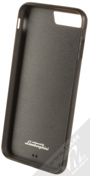 Lamborghini Huracan D6 Leather ochranný kryt z pravé kůže pro Apple iPhone 7 Plus, iPhone 8 Plus (LB-TPUPCIP7P-HU/D6-BK) černá (all black) zepředu