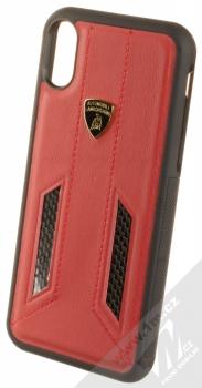 Lamborghini Huracan D6 Leather ochranný kryt z pravé kůže pro Apple iPhone X, iPhone XS (LB-TPUPCIPX-HU/D6-RD) červená černá (red black)