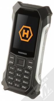 MyPhone Hammer Patriot stříbrná (silver) šikmo zepředu