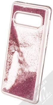 Sligo Liquid Pearl Full ochranný kryt s přesýpacím efektem třpytek pro Samsung Galaxy S10 růžově zlatá (rose gold) animace 2