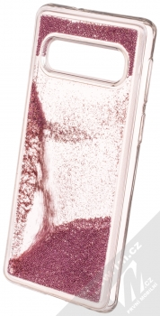 Sligo Liquid Pearl Full ochranný kryt s přesýpacím efektem třpytek pro Samsung Galaxy S10 růžově zlatá (rose gold) animace 3
