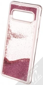 Sligo Liquid Pearl Full ochranný kryt s přesýpacím efektem třpytek pro Samsung Galaxy S10 růžově zlatá (rose gold) animace 5