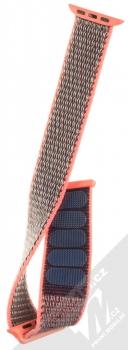 Tactical Nylon Strap textilní pásek na zápěstí pro Apple Watch 38mm, Watch 40mm růžová šedá (pink grey) rozepnuté