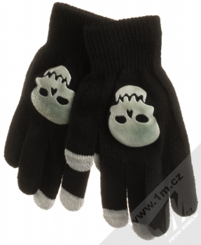 URan Touch Gloves Skull pletené rukavice s motivem pro kapacitní dotykový displej černá (black)