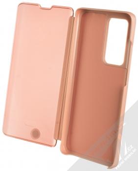 1Mcz Clear View flipové pouzdro pro Huawei P40 Pro růžová (pink) otevřené