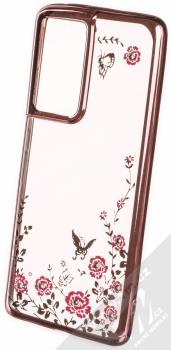 1Mcz Diamond Flower TPU ochranný kryt pro Samsung Galaxy S21 Ultra růžově zlatá (rose gold)