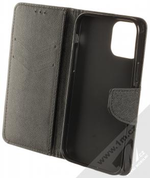 1Mcz Fancy Book flipové pouzdro pro Apple iPhone 12 Pro černá (black) otevřené