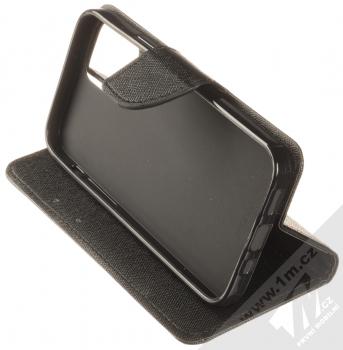 1Mcz Fancy Book flipové pouzdro pro Apple iPhone 12 Pro černá (black) stojánek