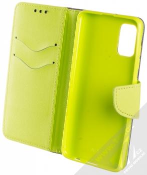 1Mcz Fancy Book flipové pouzdro pro Samsung Galaxy A41 modrá limetkově zelená (blue lime) otevřené
