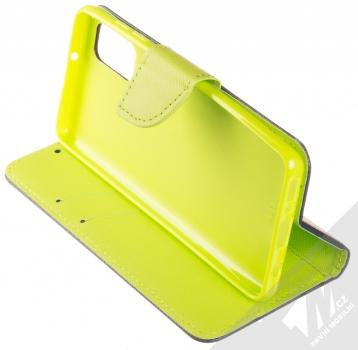 1Mcz Fancy Book flipové pouzdro pro Samsung Galaxy A41 modrá limetkově zelená (blue lime) stojánek