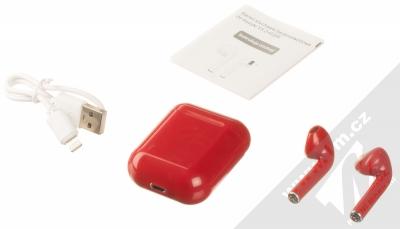 1Mcz i12 inPods Simple Glossy TWS Bluetooth stereo sluchátka červená (red) balení