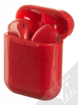 1Mcz i12 inPods Simple Glossy TWS Bluetooth stereo sluchátka červená (red) nabíjecí pouzdro se sluchátky