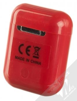 1Mcz i12 inPods Simple Glossy TWS Bluetooth stereo sluchátka červená (red) nabíjecí pouzdro zezadu