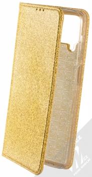 1Mcz Shining Book třpytivé flipové pouzdro pro Samsung Galaxy A12, Galaxy M12 zlatá (gold)
