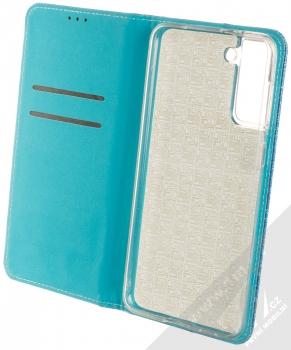 1Mcz Shining Book třpytivé flipové pouzdro pro Samsung Galaxy S21 Plus modrá (blue) otevřené
