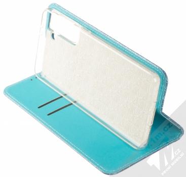 1Mcz Shining Book třpytivé flipové pouzdro pro Samsung Galaxy S21 Plus modrá (blue) stojánek