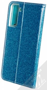 1Mcz Shining Book třpytivé flipové pouzdro pro Samsung Galaxy S21 Plus modrá (blue) zezadu