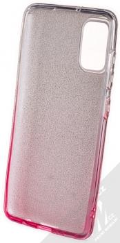 1Mcz Shining Duo TPU třpytivý ochranný kryt pro Samsung Galaxy A41 stříbrná růžová (silver pink) zepředu