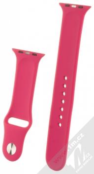 1Mcz Silikonový sportovní řemínek pro Apple Watch 42mm, Watch 44mm malinově růžová (raspberry pink) zezadu