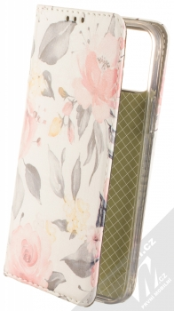 1Mcz Trendy Book Keřík růží 1 flipové pouzdro pro Apple iPhone 12, iPhone 12 Pro bílá (white)