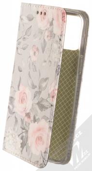 1Mcz Trendy Book Keřík růží 2 flipové pouzdro pro Apple iPhone 12 Pro Max světle šedá (light grey)