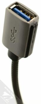 4smarts Basic Line Socket opletená OTG redukce z USB Type-C na USB pro mobilní telefon, mobil, smartphone šedá (grey) konektor USB zdířka