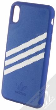 Adidas 3-Stripes Suede Snap Case ochranný kryt pro Apple iPhone XS Max (CL4247) modrá bílá (collegiate royal white)