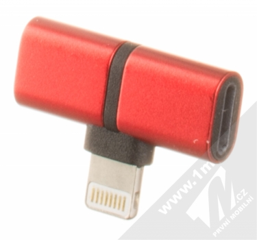 Blue Star Lightning Splitter miniaturní rozdvojovací adaptér s Apple Lightning konektorem červená (red) zezadu