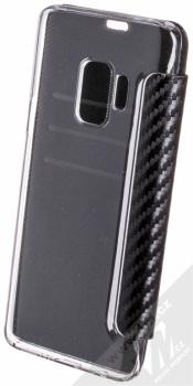 BMW M Carbon Vertical flipové pouzdro pro Samsung Galaxy S9 (BMBKTRS9CAPRBK) černá (black) zezadu