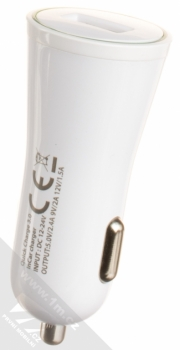 Forcell Impulse USB Car Charger nabíječka do auta s USB výstupem a Forcell TYP-C 3.0 USB kabel s USB Type-C bílá (white) nabíječka zezadu