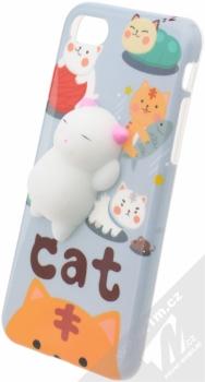 Forcell Squishy ochranný kryt s antistresovou postavičkou pro Apple iPhone 7, iPhone 8 bílá kočička šedá (white cat grey)