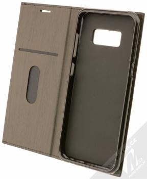 Forcell Wood flipové pouzdro s motivem dřeva pro Samsung Galaxy S8 černý eben (ebony black) otevřené