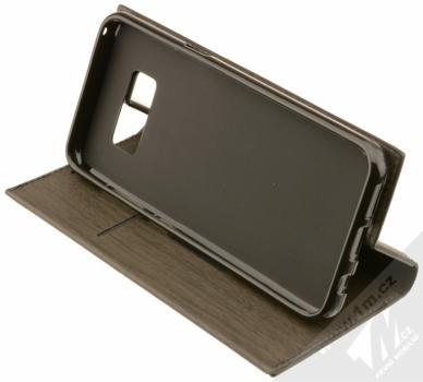 Forcell Wood flipové pouzdro s motivem dřeva pro Samsung Galaxy S8 černý eben (ebony black) stojánek