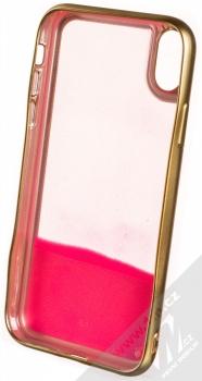 Guess Plated Sand Glow in the Dark ochranný kryt s přesýpacím efektem třpytek pro Apple iPhone XR (GUHCI61GLTRPI) zlatá růžová (gold pink) zepředu