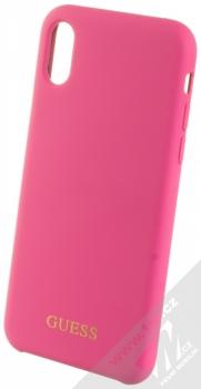 Guess Silicone Logo ochranný kryt pro Apple iPhone X, iPhone XS (GUHCPXLSGLPI) sytě růžová (hot pink)