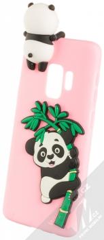 Haianguo Malá Panda na Bambusu 3D TPU ochranný kryt s 3D postavičkou a motivem pro Samsung Galaxy S9 světle růžová (light pink)